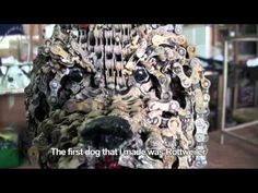 Dog sculptures made from bicycle chains by Israeli artist Nirit Levav