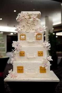 Suitcase cake (unsure of origin) purs cake, suitcas cake, cake idea, wedding cakes, baker outdid