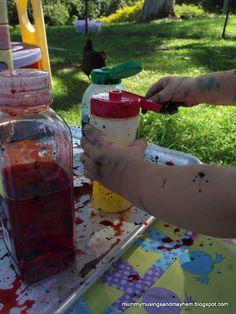 DIY Paint Squirt Bottles....great for toddler fine motor skills!!