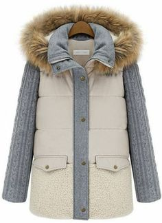Beige Faux Fur Hooded Contrast Long Sleeve Parka pictures