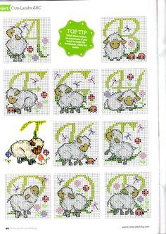 Cross-stitch Lamb alphabet, part 1..  color chart on part 3.