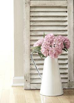 powder room, flower arrang, old shutters, spring flowers, pink flowers