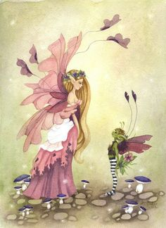 Fantasy Fine Art Print - 5x7 -  The Crush - Whimsical, fairy, sweet, valentine's day, pink, green. via Etsy.