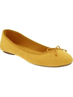 Old Navy sueded ballet flats, mustard