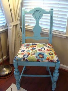 Turquoise paint + brown glaze + most awesome floral fabric = Very cool new chair!!