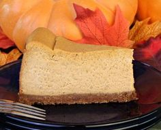 Pumpkin Cheesecake:  Wonderful combination of pumpkin and ricotta cheese give this cheesecake tremendous flavor. Make it NY style without the crust to lower carbs even more.