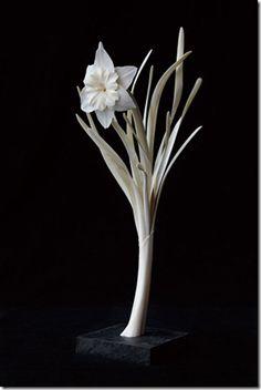 Flower sculpture from Japanese deer bone by Masaya HASHIMOTO, Japan