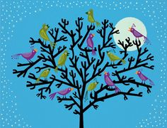 The Night Birds - Animal Art illustration - Limited Edition Tree Print - iOTA iLLUSTRATION
