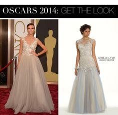 Giuliana Rancic Oscar 2014 Dress vs Camille La Vie Lace Applique Beaded Illusion Prom Dress