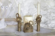 Rustic Chic Wedding Unity candles with rope by RusticBeachChic, $41.00