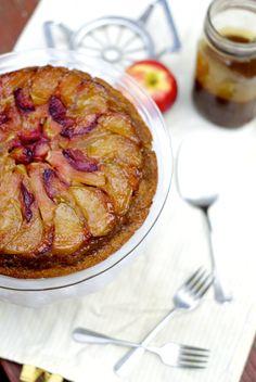 Apple and plum upside down cake