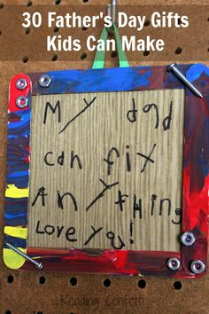 """This came out beautifully.  Adorable!!  Im not crafty, but cut a piece of cardboard (from a notebook) into a square, hot glued popsicle sticks across it, had my little one write the message, then painted 4 sticks & hot glued them around the edges to """"frame"""" it.  Hot glued some old screws & washers on it, & attached kitchen twine on the back to hang it. Can't get over how adorable it came out!!!"""