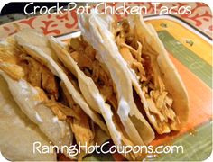Crock-Pot Chicken Tacos (using FROZEN chicken which makes it so fast and easy). They are delicious! http://www.raininghotcoupons.com/crock-pot-chicken-tacos-recipe-super-easy-and-yummy/