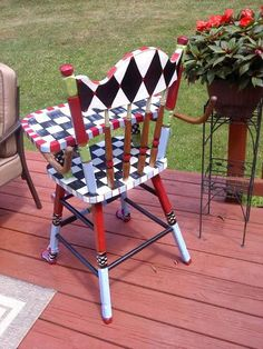 Custom Hand Painted High Chair by paintingbymichele on Etsy