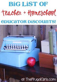Teacher Discounts and Home School Educator Discounts