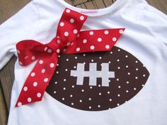 Iron On TEAM SPIRIT Appliques - Football with Ribbon