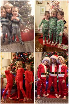 Holiday tradition. Night before Christmas picture in new pj's.