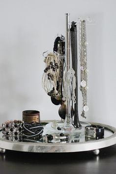 Mirrored tray and Icelet Jewelry Stand by Umbra #closet #dressing_room #jewelry #organization