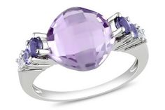 Violet Rose de France ring with Iolite, Tanzanite & white Topaz accents