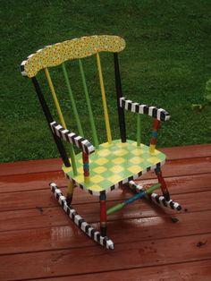 Hand Painted Child's Rocking Chair  Custom ♥ by paintingbymichele