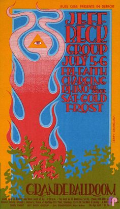 Classic Poster - Jeff Beck Group at Grande Ballroom 7/5 & 6/68 by Gary Grimshaw