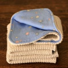 I upcycled an old cotton sweater to make some new baby wash cloths. A simple and satisfying project.