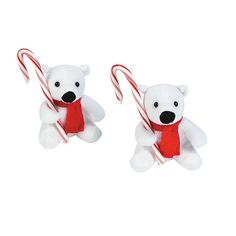 Plush Polar Bears With Candy Canes - OrientalTrading.com