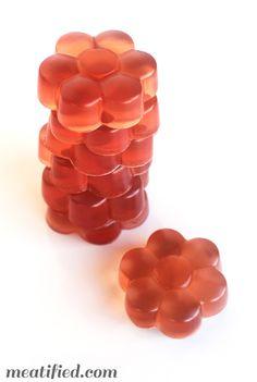 Hibiscus Homemade Gummies from http://meatified.com. Or use your favorite tea for infinite flavor varieties! #paleo #gelatin #gummies #gummysnacks