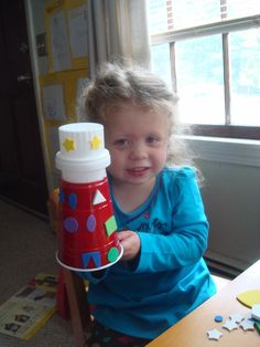 DIY lighthouse from detergent lid diy lighthouse crafts, gift idea, kid craft, preschool