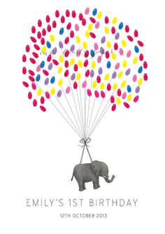 PRINT A3 19x13in elephant fingerprint guest book alternative for first birthdays engagements baby showers, new baby OMG MUST HAVE!