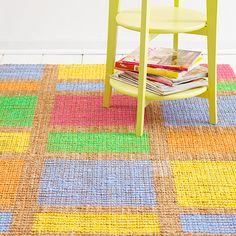 A hand-painted rug is an inexpensive way to add color to a room. Learn how to make your own: http://www.bhg.com/decorating/do-it-yourself/accents/easy-home-decor-crafts/?socsrc=bhgpin062912#page=3