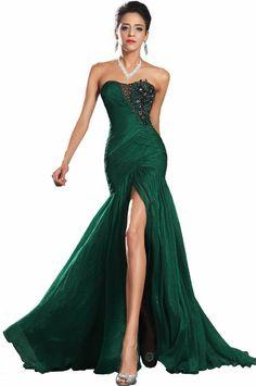 Amazon.com: New Green High Split Chiffon Pleat Beads Train Wedding Dress Prom Evening Gown: Clothing