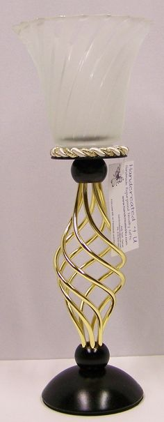 Candle Holder Stand Black Gold Repurposed by handcreated4u on Etsy, $9.00