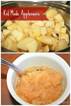Super simple homemade applesauce that kids can make!