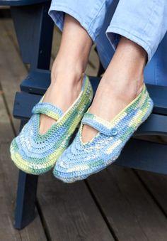 Free crochet pattern - Patons Kroy Socks - Summer Slippers