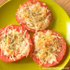 Parmesan Tomato Bites 2 Tomatoes 1 1/2 oz Parmesan Cheese 1 tsp, leaves	Spices, oregano, dried 1 dash	Salt 1 dash Black Pepper 1 tablespoon Olive Oil Preheat the oven to 450 F.  Slice Tomatoes. Place them on a baking sheet. Top with shredded Parmesan, fresh oregano, salt and fresh ground pepper (season according to your taste). Drizzle with some olive oil and bake until tomatoes are tender and the cheese is melted, for about 10-15 minutes.