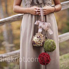 Bridesmaids non-bouquet bouquets - Winter Hues