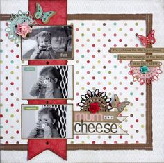 scrapbook inspir, craft, polka dots, scrapbook layouts easy, picture layouts