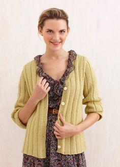 Free Knitting Pattern - Women's Cardigans: Wide Rib Cardigan