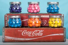 Cute gumball jars on coca cola crates! Gumball birthday party!