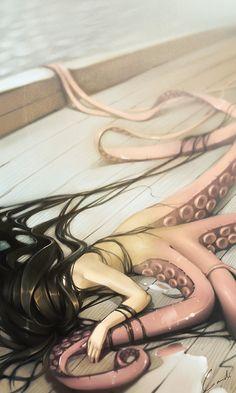 alexandra khitrova, animation, illustrations, banner poster, art, fantasi illustr, graphic banner, octopus, alexandra graphic