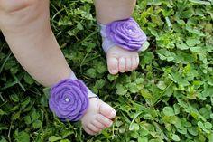 Boutique Petal Toes Fairy Feet Lilac Rosette Barefoot by bubbipop, $10.99
