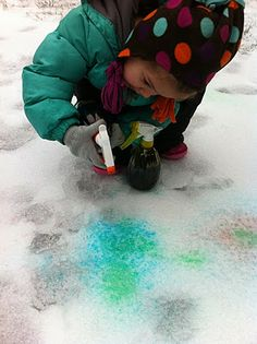 Cute Idea for snow day! food coloring, water, spray bottle - WINTER CHALK :)