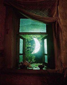 crescent moon in window