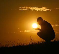 lights, silhouett, hands, sunset, perspective photography