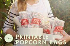 movie night printables, outdoor movie party food, night popcorn, printabl popcorn, movi night, movie night candy bar, outdoor movie night ideas, popcorn bag printable, movie nights