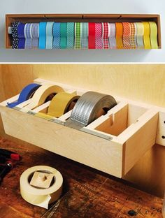 Simplify Your Workspace: No more sticky situations! Great DIY for a duct tape in a workshop or washi tape in a craft room.  #universaltrim