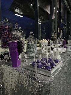 Purple and Silver Dessert Table #purple #desserttable