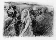 """""""Rush hour on the Northern line"""", London (pencil)."""