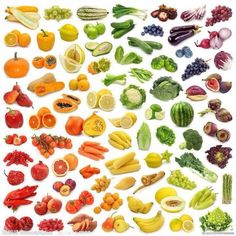 Rainbow of fruits and veges